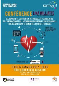 Conférence de Maître Lina WILLIATTE sur les dangers de l'utilisation des NTIC par les professionnels du monde de la santé et du social